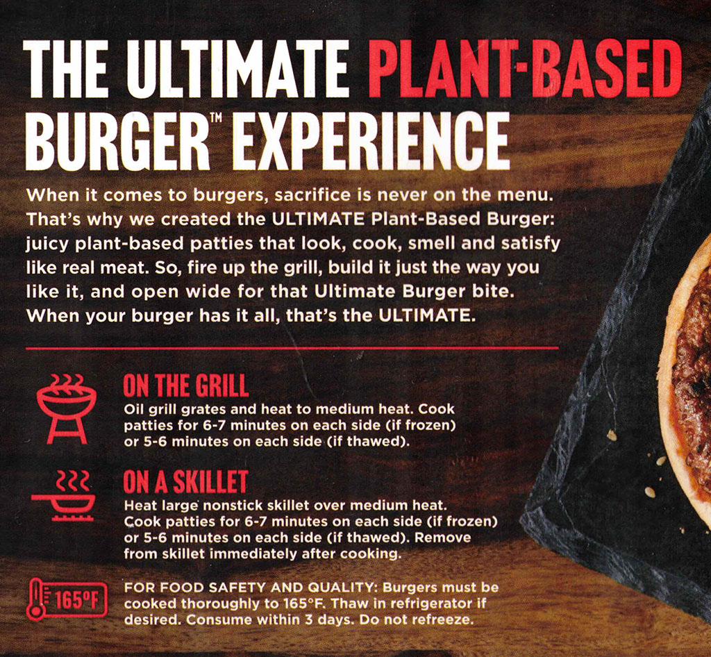 Gardein Ultimate Plant-Based Burger cooking instructions