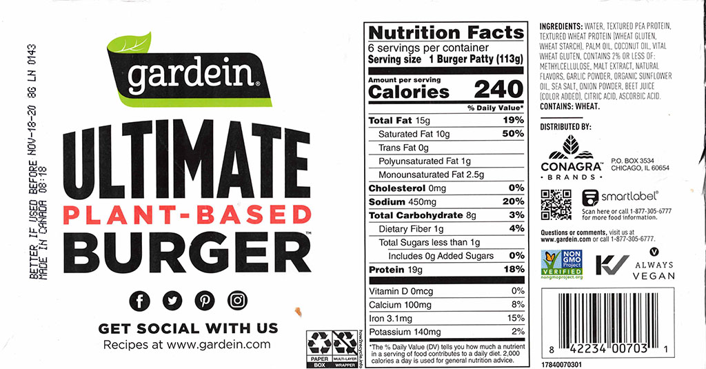 Gardein Ultimate Plant-Based Burger nutrition, ingredients