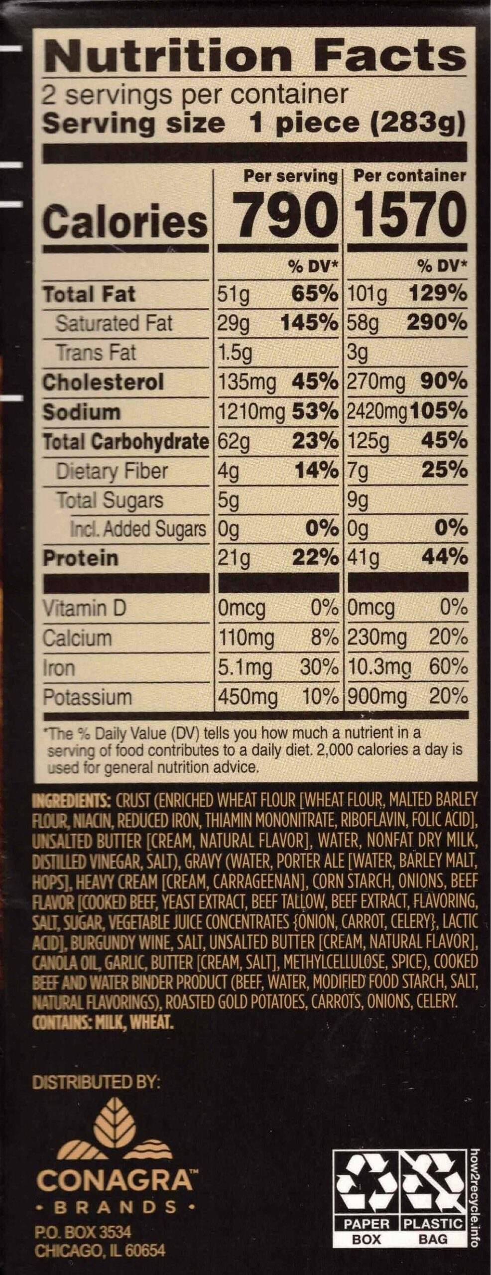 Marie Callender's Pub Style Steak & Ale pie nutrition and ingredients