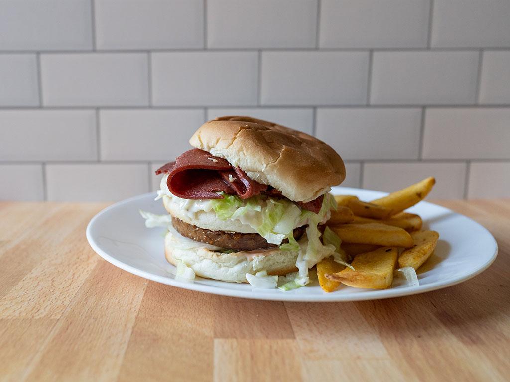 Worthington Meatless Corned Beef burger