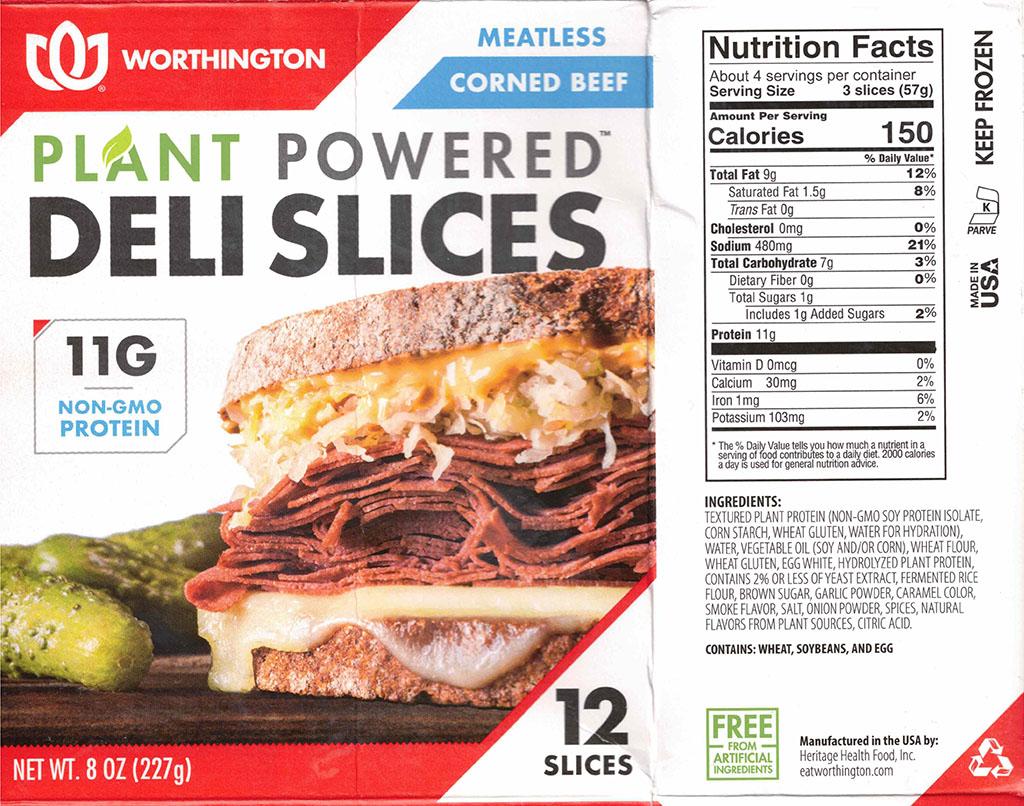 Worthington Meatless Corned Beef nutrition