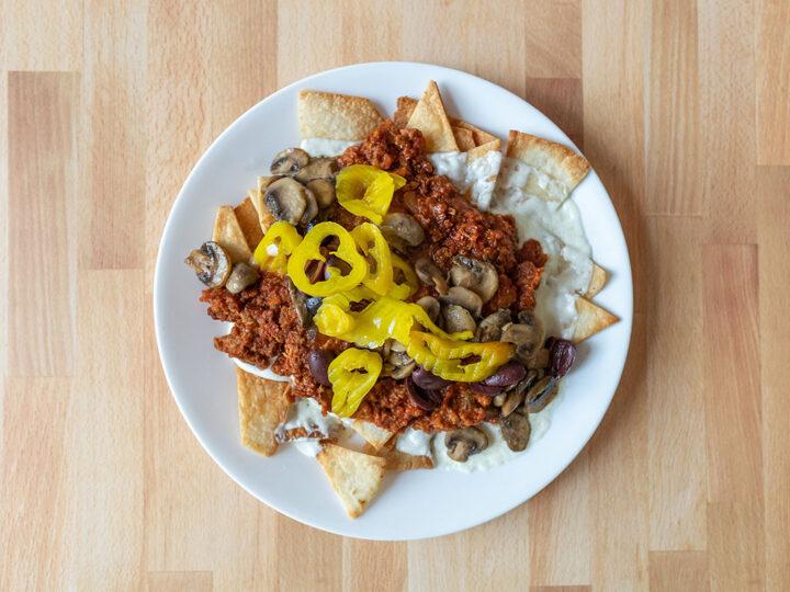 Italian-style nachos with Alpha meatless sausage