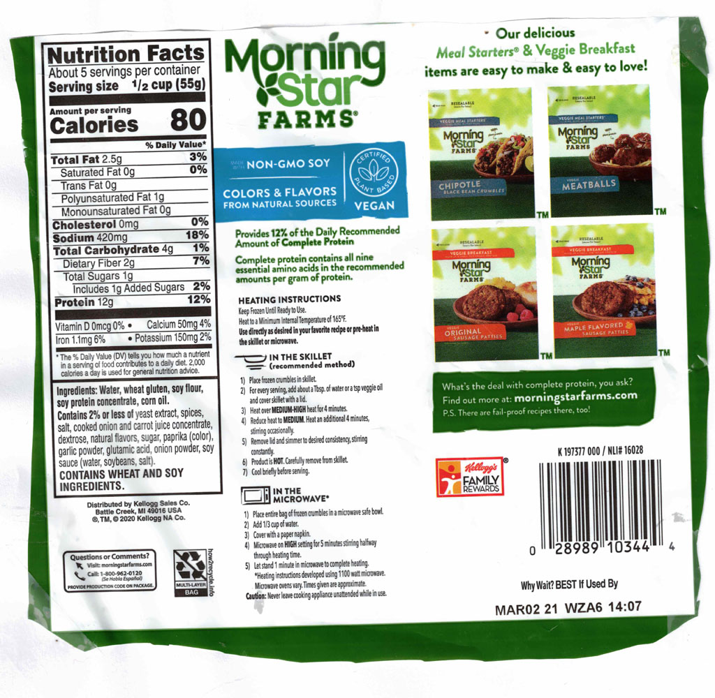 MorningStar Farms Italian Sausage Style Crumbles nutrition and packaging