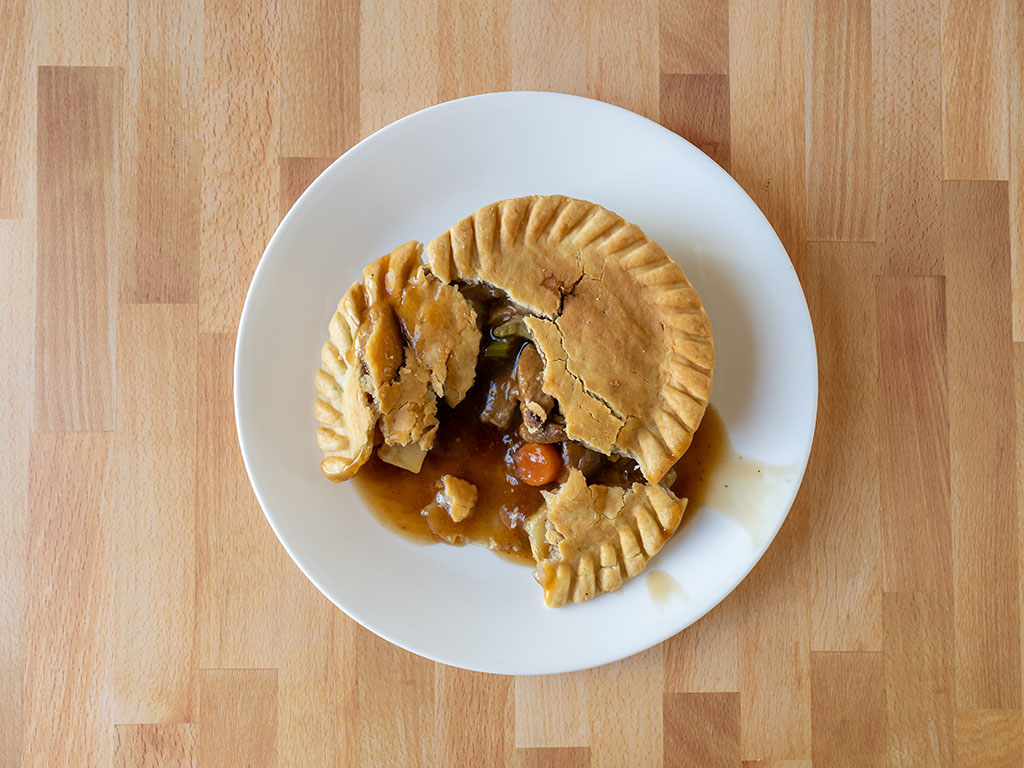 Marie Callender's Meatless Gardein Be'f Pot Pie cooked