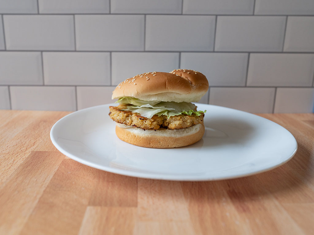 Simple Truth Emerge Plant Based Chik'N Grind burger side