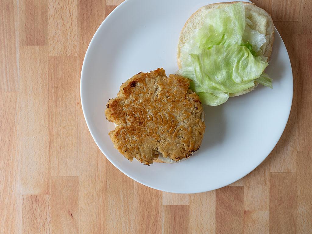 Simple Truth Emerge Plant Based Chik'N Grind fried as burger