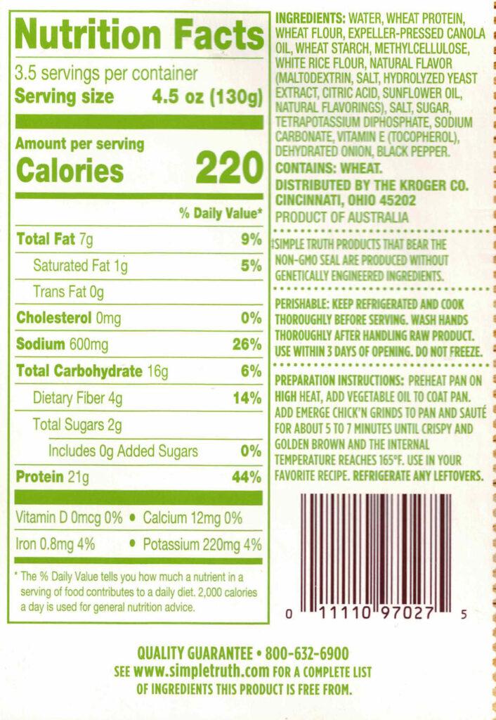 Simple Truth Emerge Plant Based Chik'N Grind nutrition, ingredients