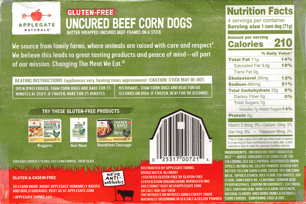 Applegate Naturals Uncured Beef Corn Dogs ingredients, nutrition, cooking