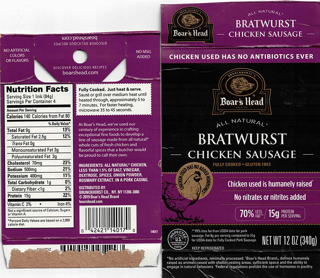Boar's Head Chicken Bratwurst nutriotion and cooking