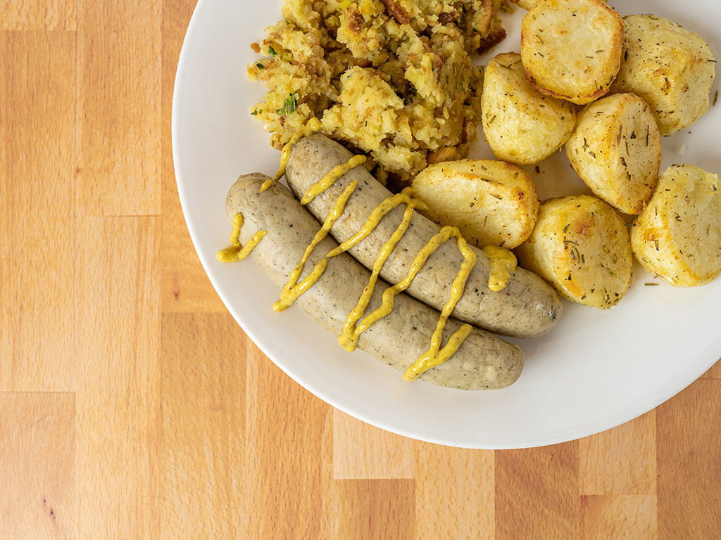 Boar's Head Chicken Bratwurst with potatoes and stuffing