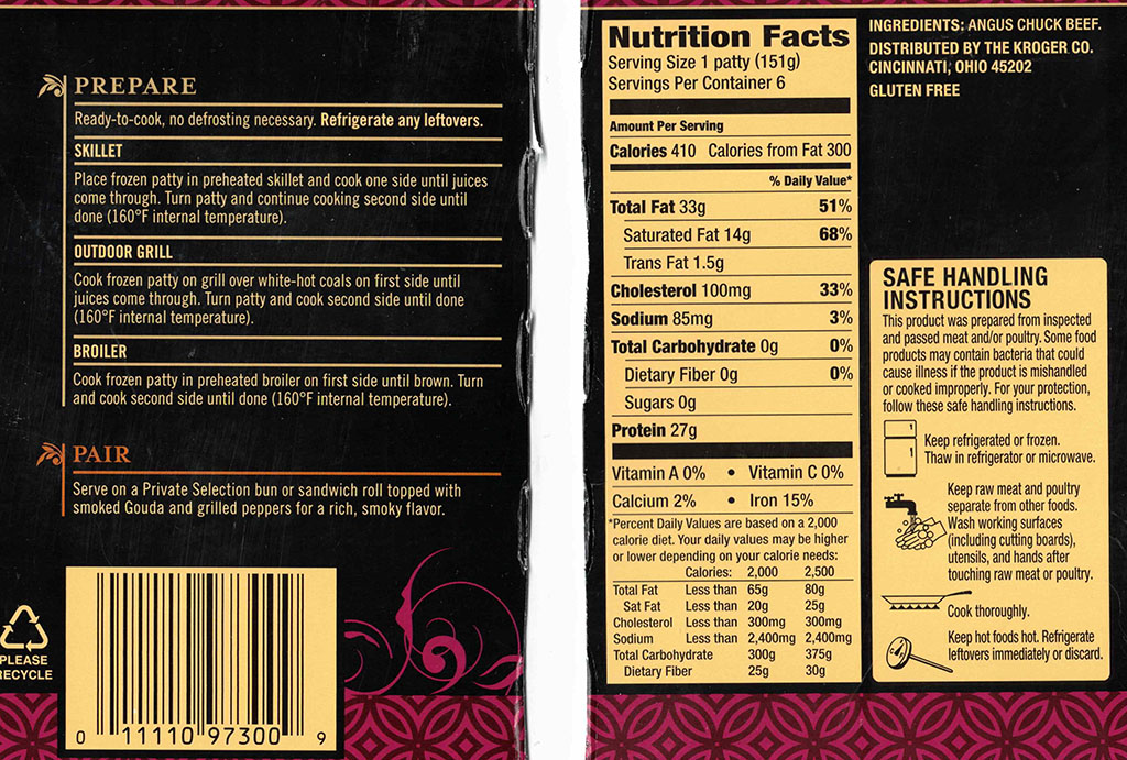 Kroger Private Selection Angus Beef Burgers nutrition
