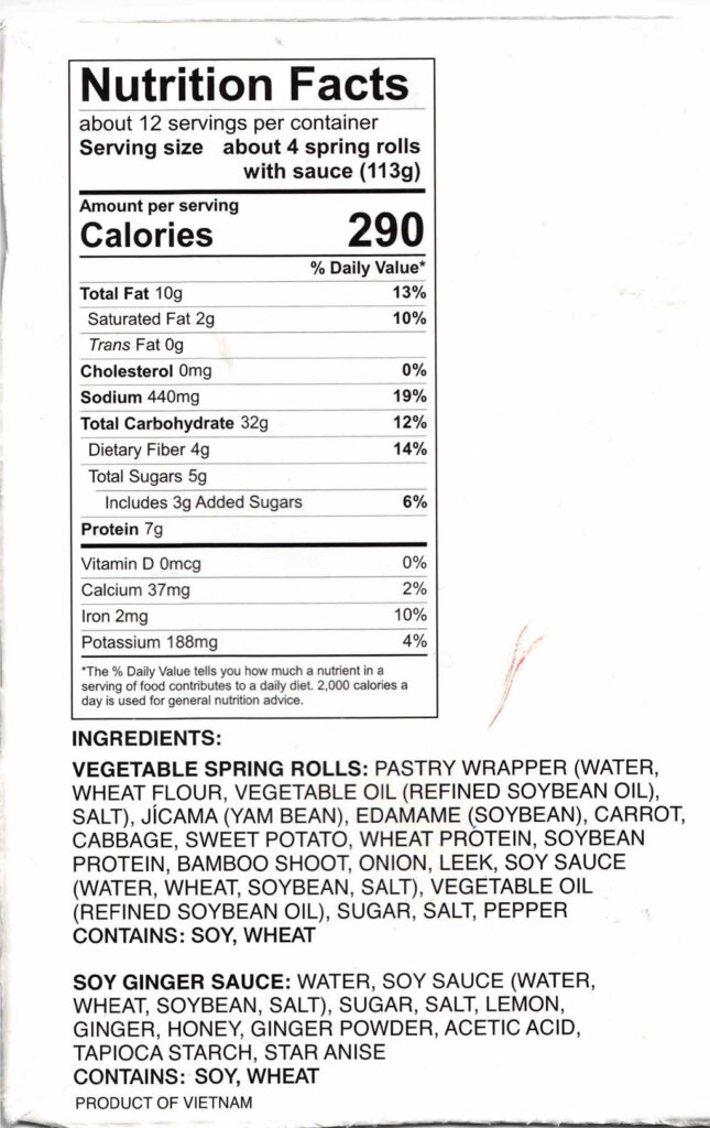 Royal Asia Vegetable Spring Rolls nutrition