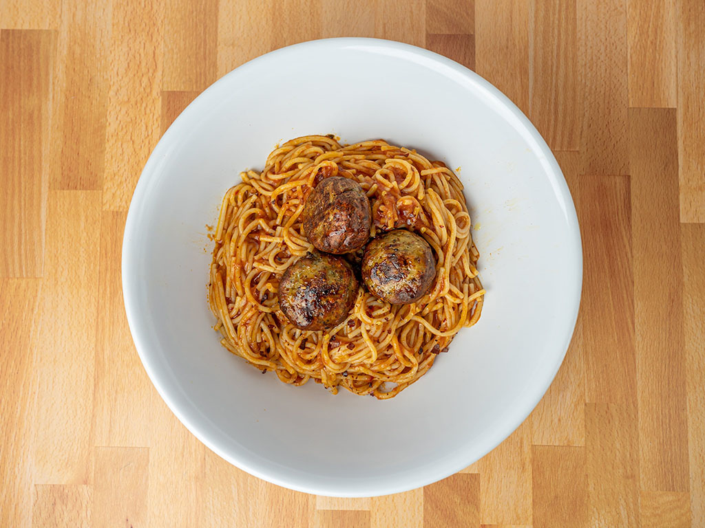 Simple Truth Italian Seasoned Chicken Meatballs with linguine