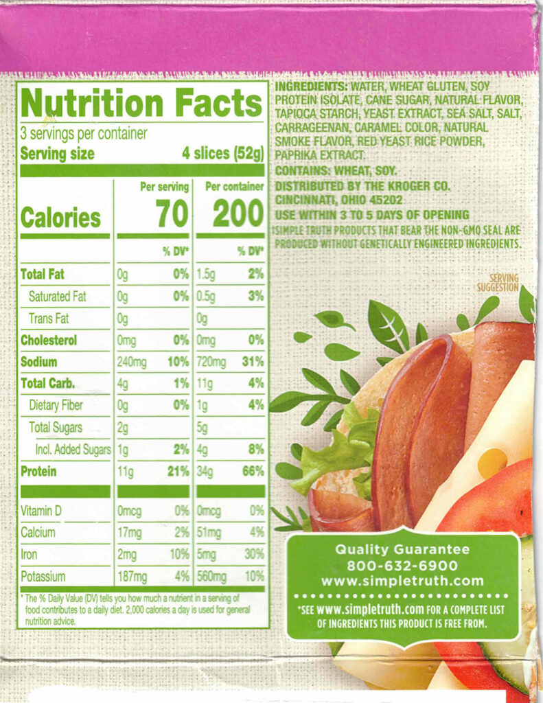 Simple Truth Plant Based Ham Style Deli Slices nutrition