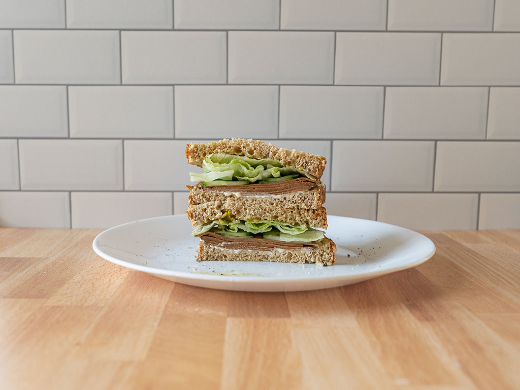Simple Truth Plant Based Ham Style Deli Slices sandwich