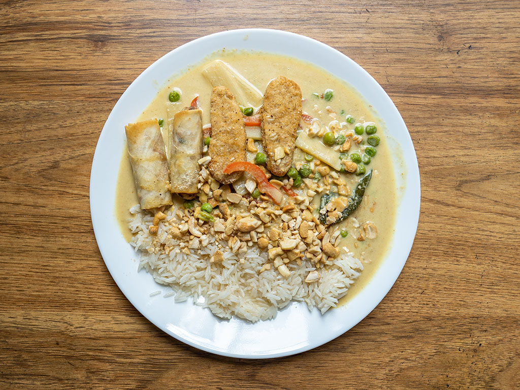 Royal Asia Vegetable Spring Rolls with Gardein Seven grain tenders, thai yellow curry