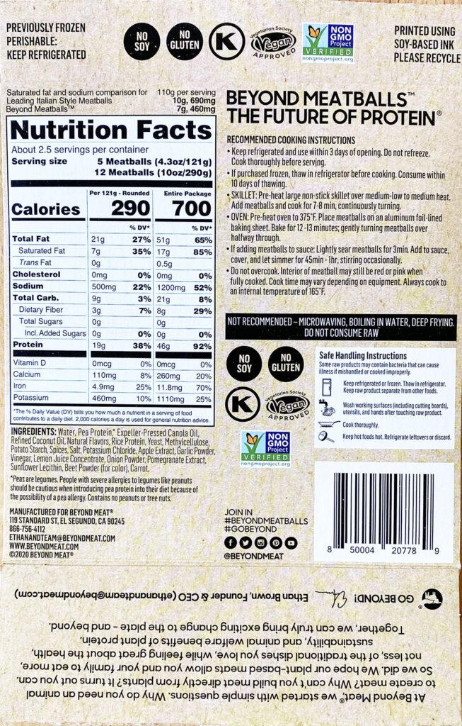 Beyond Meatballs nutrition