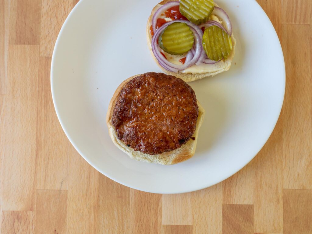 365 Plant-Based Burger Patties cooked top down