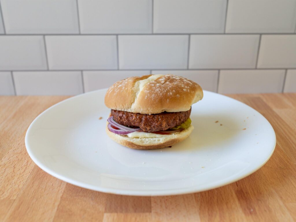 365 Plant-Based Burger Patties cooked simple side view