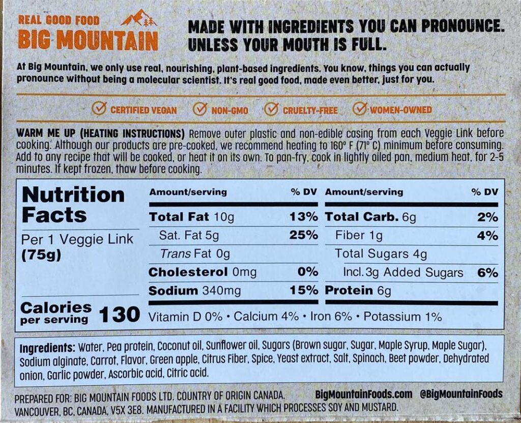 Big Mountain Super-Food Brekkie Links ingredients and nutrition