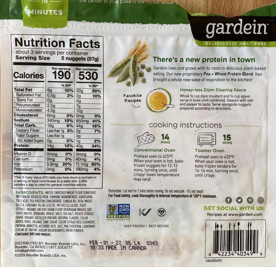 Gardein Crispy Golden Chick'n Nuggets ingredients and nutrition