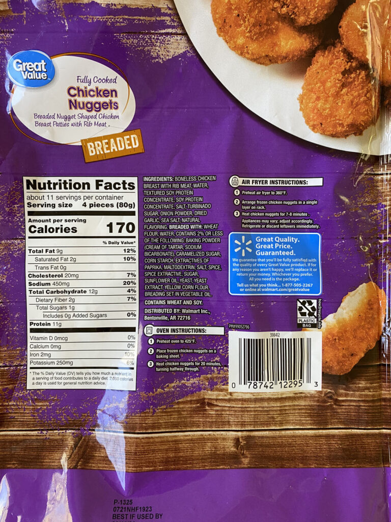 Great Value Breaded Chicken Nuggets nutrition and cooking