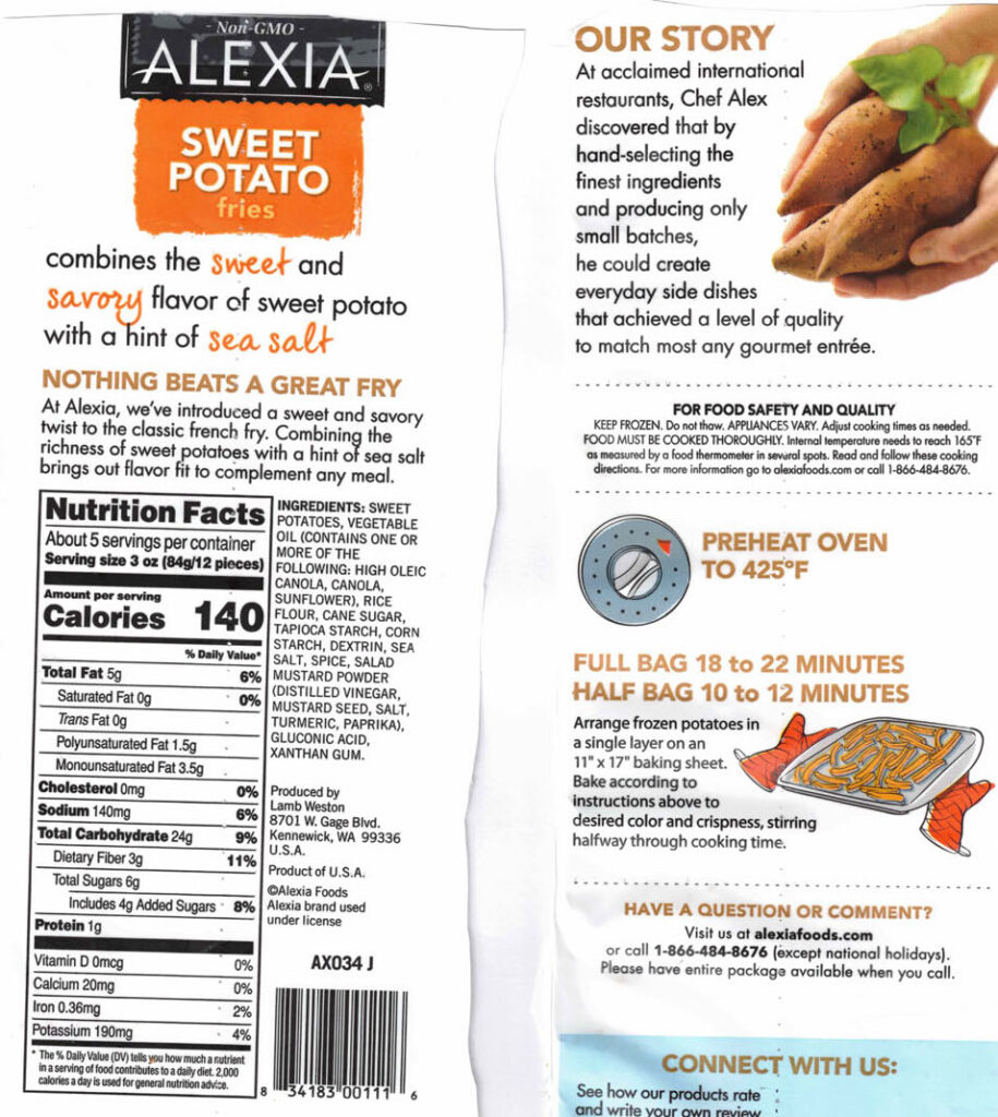 Alexia Sweet Potato Fries with Sea Salt nutrition and cooking