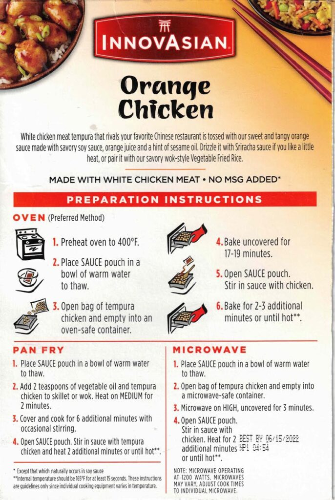 InnovAsian Orange Chicken ingredients and nutrition