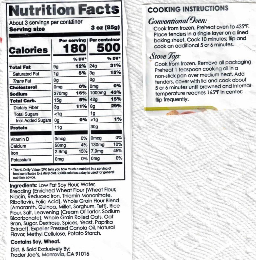 Trader Joe's Chickenless Crispy Tenders ingredients and nutrition