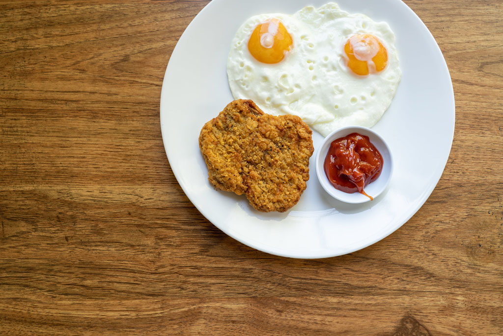 Tyson Country Fried Steak with eggs