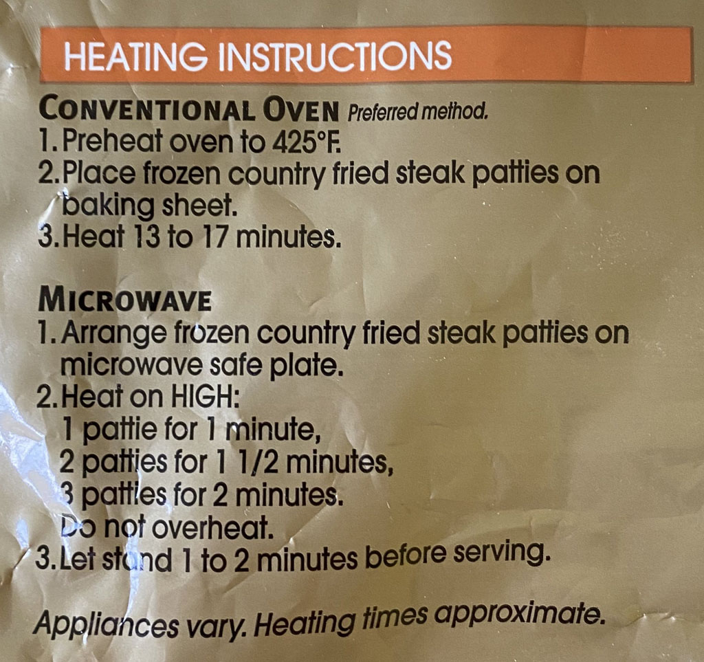 Tyson Country Fried Steak cooking instructions