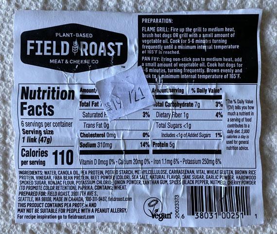 Field Roast Signature Stadium Dogs nutrition nd cooking