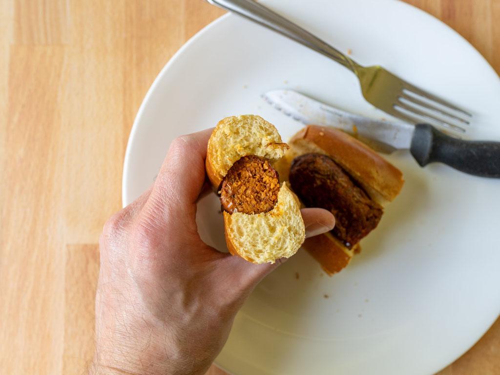 Sweet Earth Chorizo-Style Sausage air fried interior close up