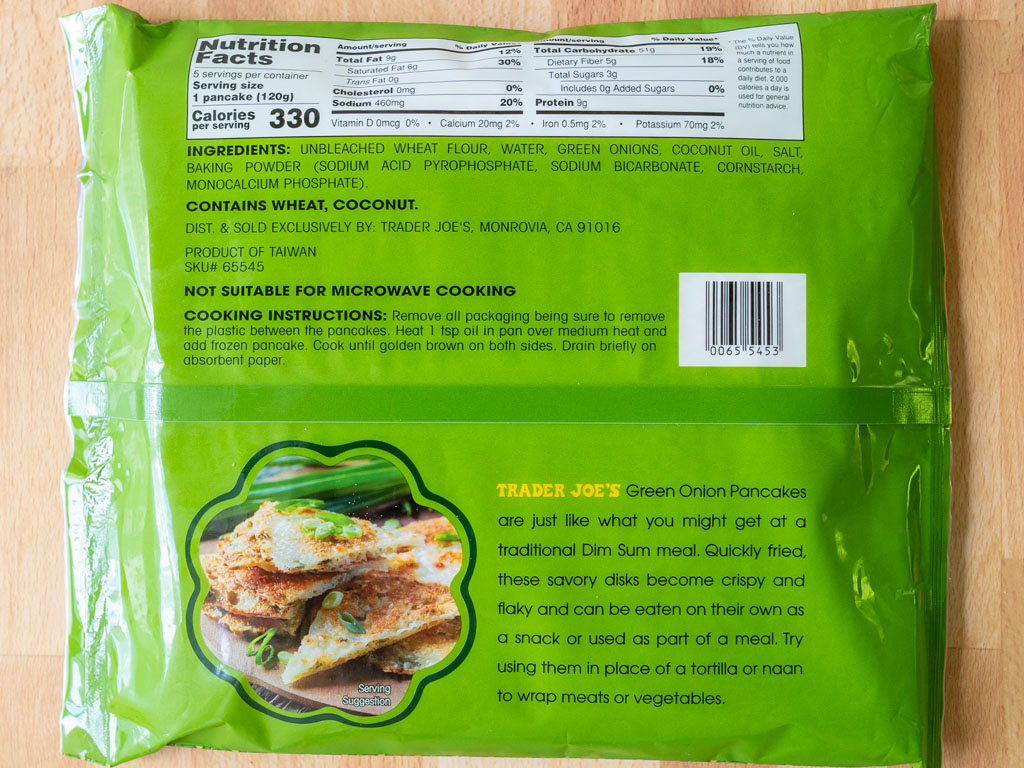 Trader Joe's Taiwanese Green Onion Pancakes nutrition and cooking