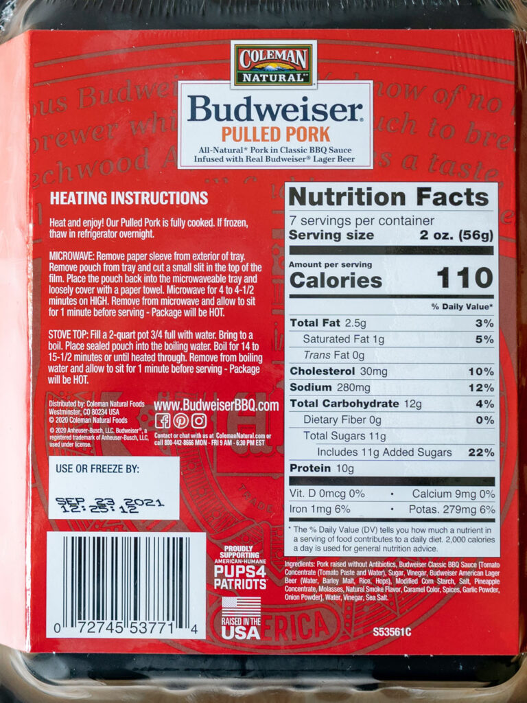 Coleman Natural Budweiser Pulled Pork nutrition and ingredients