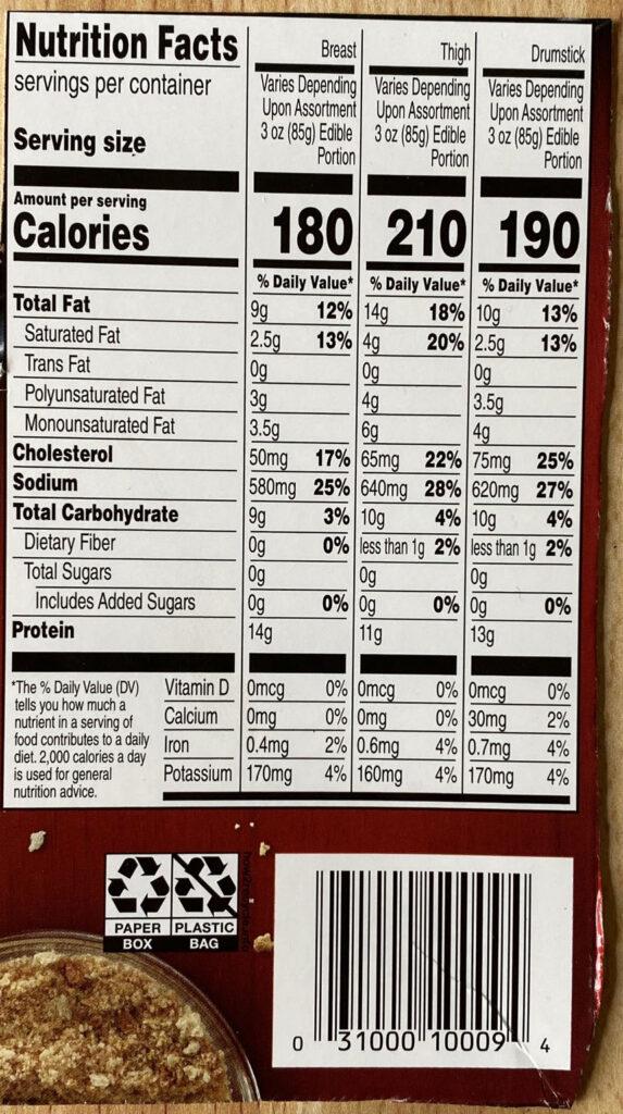Banquet Original Crispy Fried Chicken nutrition
