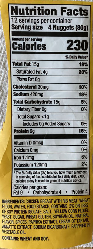 Foster Farms Breast Nuggets nutrition
