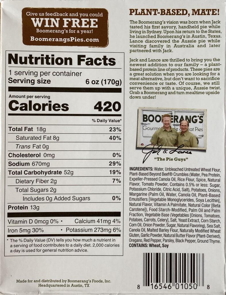 Boomerang's Plant-based Beefy Potato nutrition