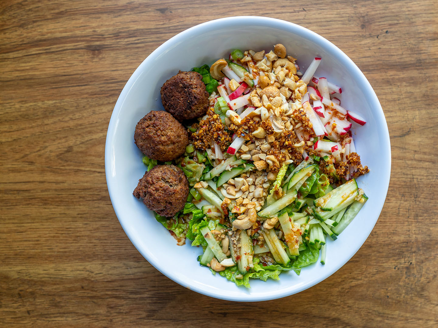Plant-based Vietnamese salad with Impossible meatballs