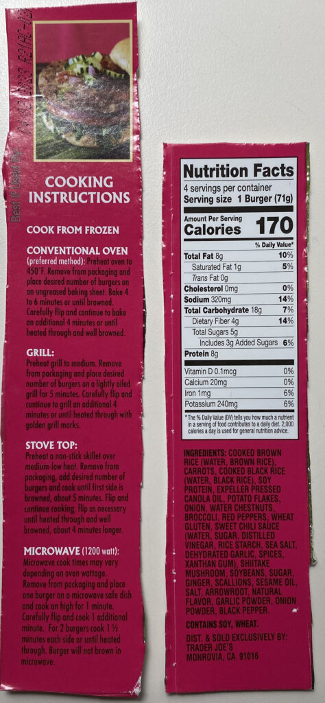 Trader Joe's Thai Sweet Chili Veggie Burger nutrition and cooking