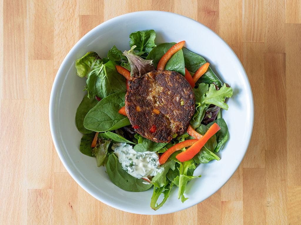 Trader Joe's Thai Sweet Chili Veggie Burger on salad