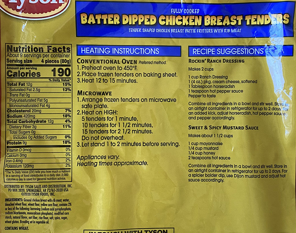 Tyson Batter Dipped Chicken Breast Tenders cooking and nutrition