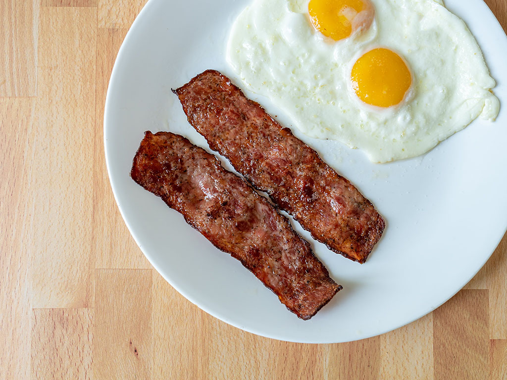 Johnsonville Sausage Strips with fried eggs
