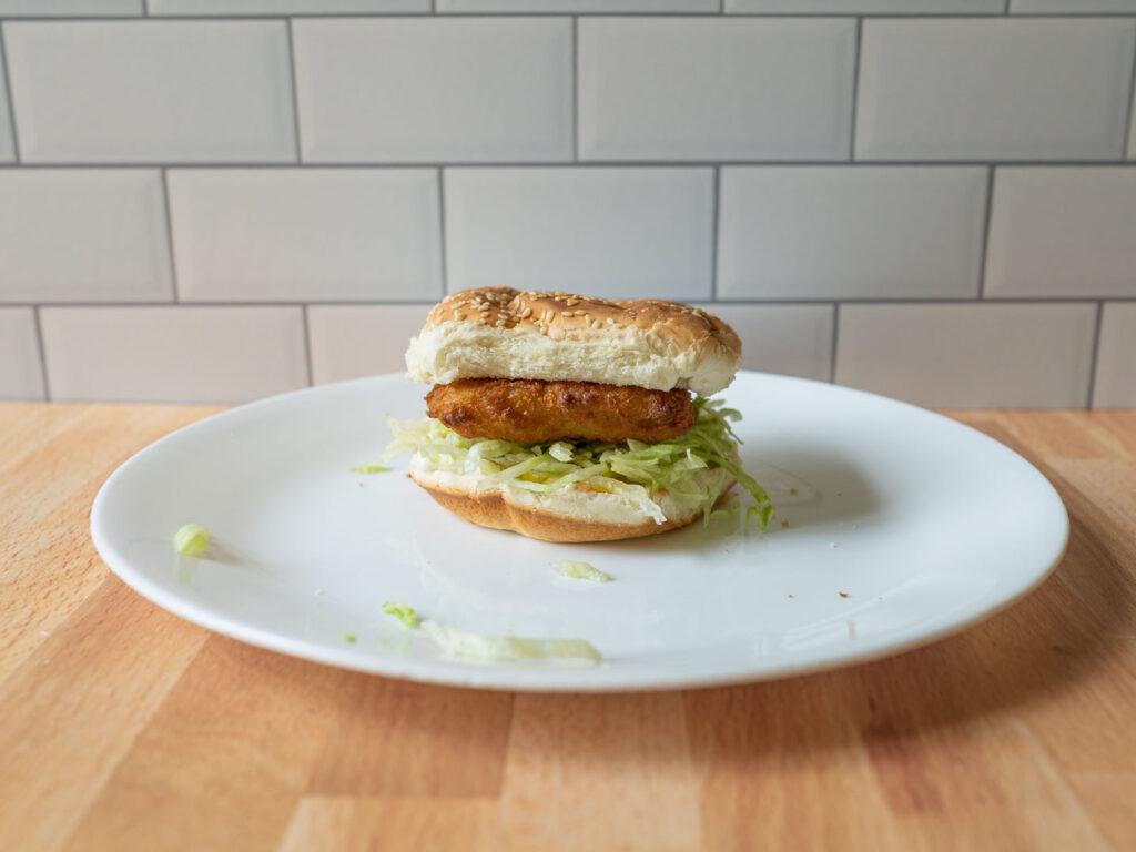 Gorton's Fish Sandwich cooked exterior