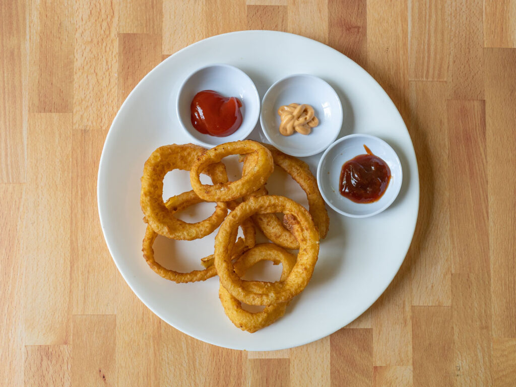 Nathan's Famous Thick Sliced Battered Onion Rings air fried
