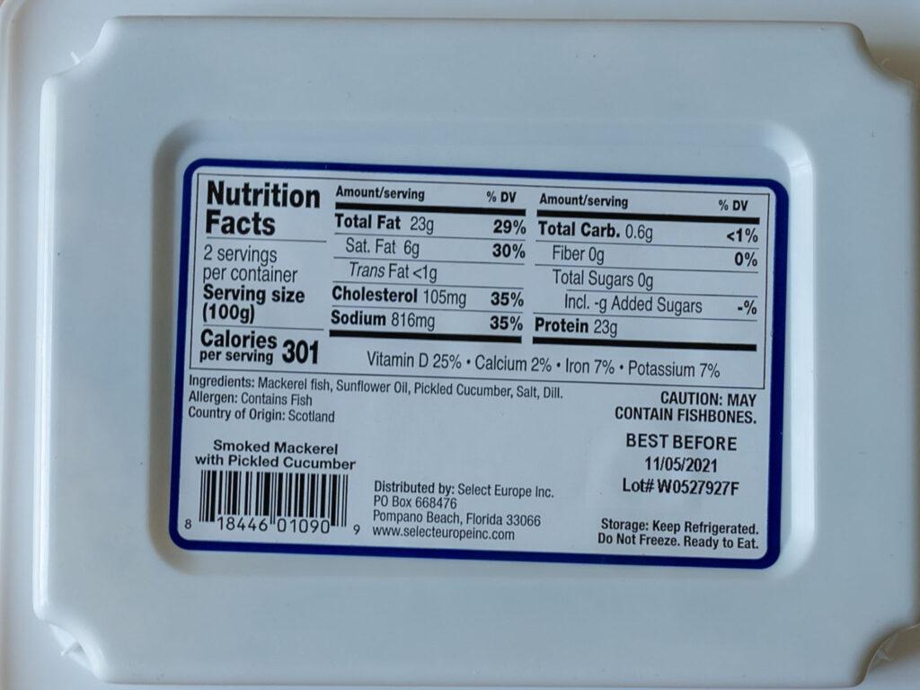 FruitsDeMer Smoked Mackerel nutrition