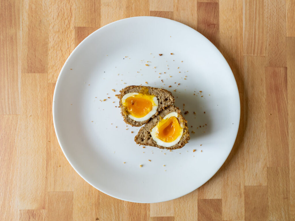 Impossible Sausage vegetarian scotch egg inside