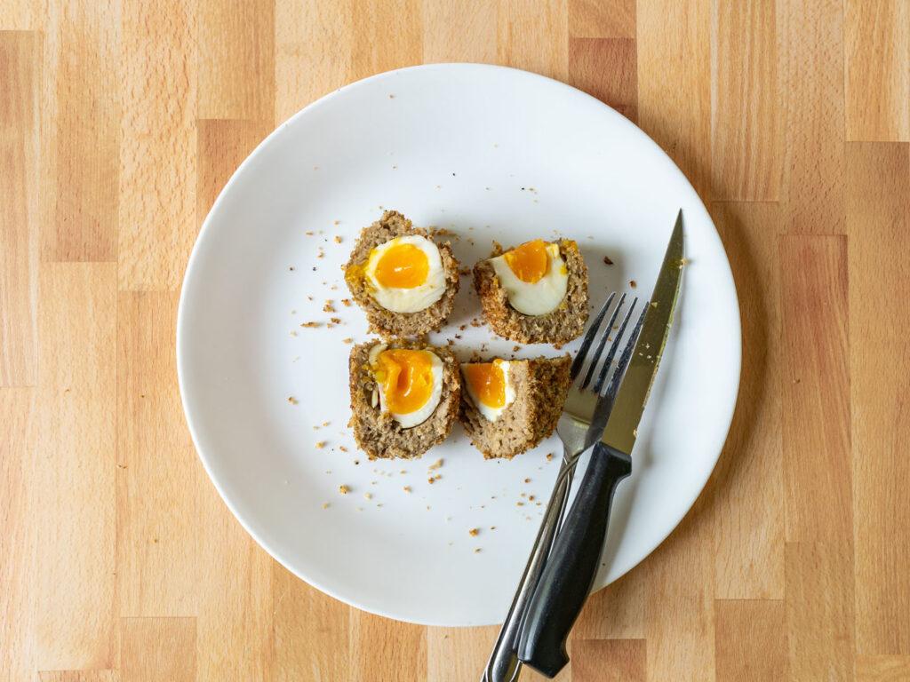 Impossible Sausage vegetarian scotch egg inside quartered