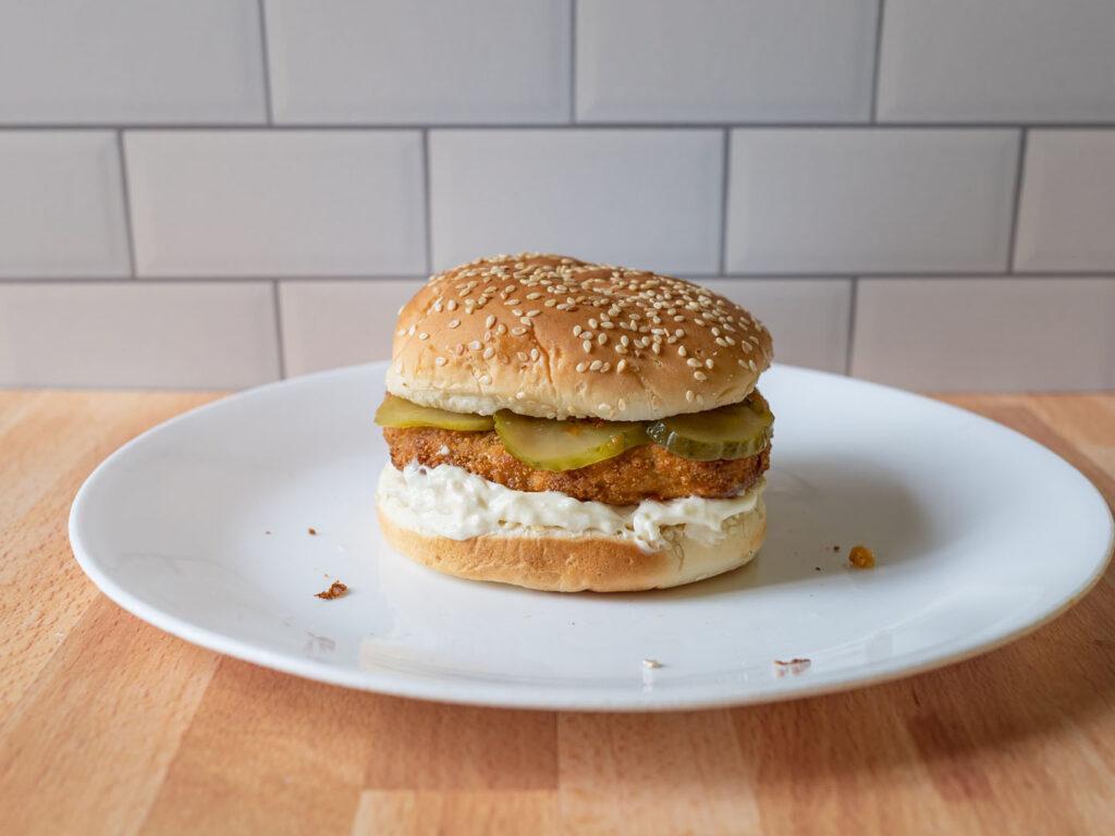 Gardein Ultimate Plant-Based Chick'N Filet air fried on bun