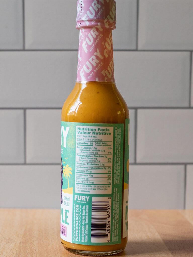 Fury Hot Sauce - Pineapple Yardie nutrition